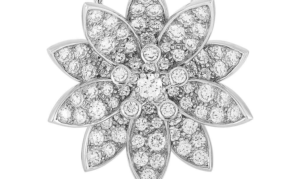 Van Cleef & Arpels Van Cleef & Arpels Lotus 18K White Gold Diamond Medium Pendant Necklace