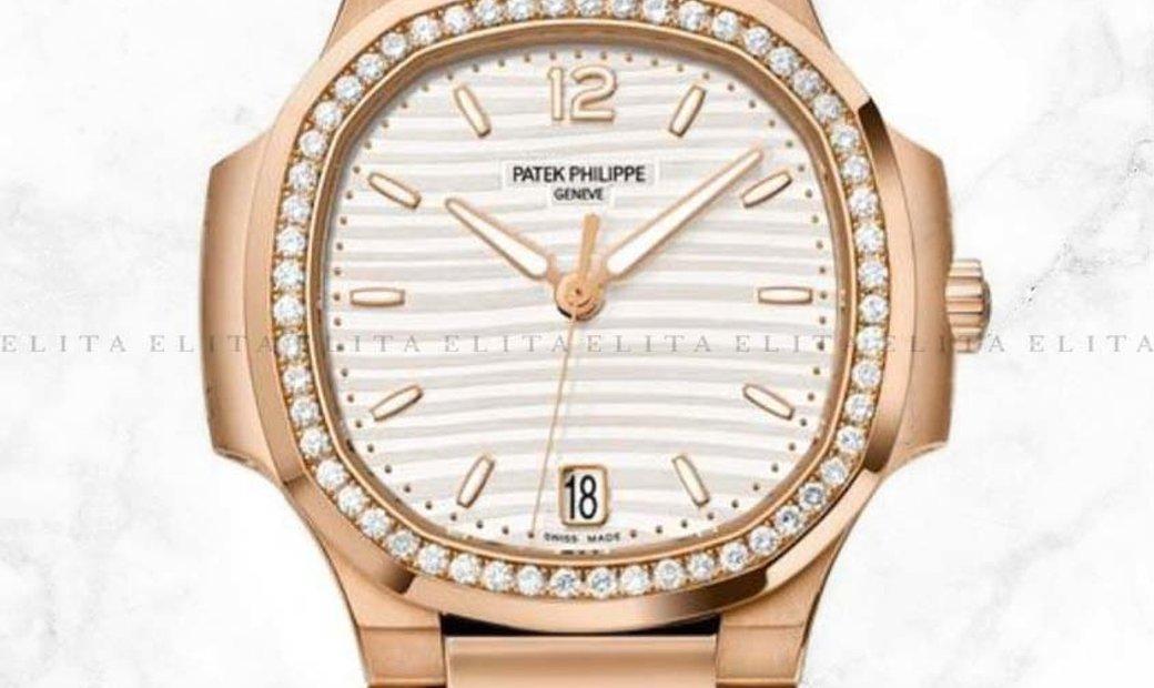 Patek Philippe Nautilus 7118/1200R-001 Rose Gold, Silvery Opaline Dial and Diamond Set Bezel