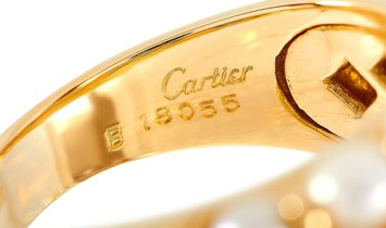 Cartier Cartier 18K Yellow Gold 0.35 ct Diamond and Pearl Cocktail Ring
