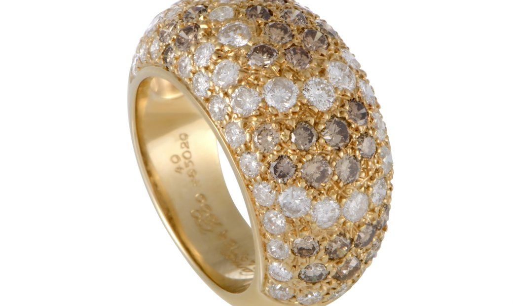 Cartier Cartier Sauvage 18K Yellow Gold White and Brown Diamond Pave Ring
