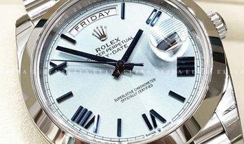 Rolex Day-Date 40 228206-0001 Platinum Ice Blue Quadrant Motif Dial Roman Numerals