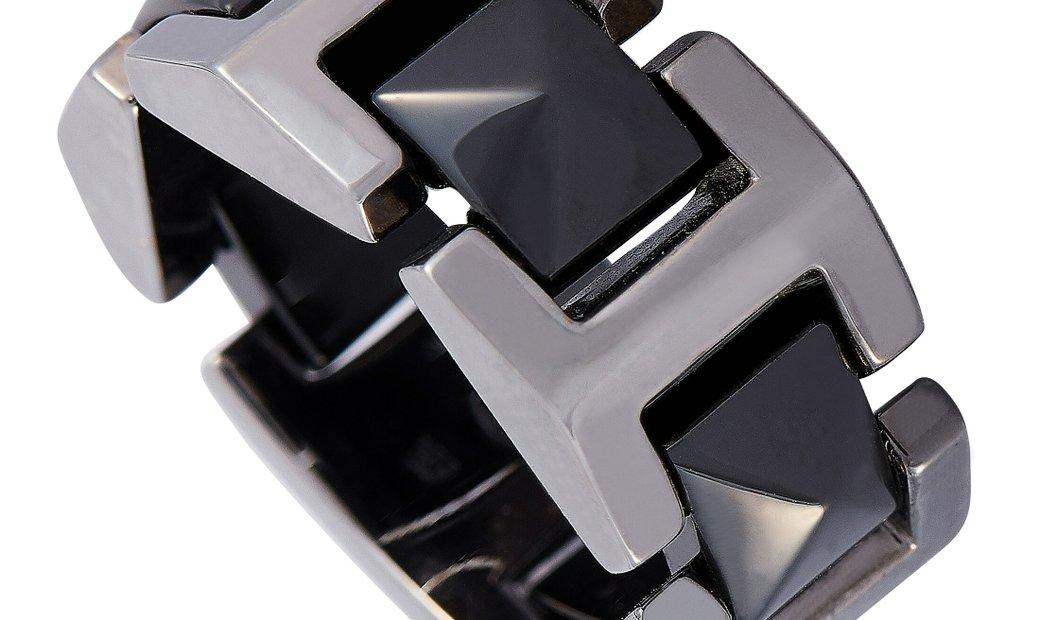 Versace Versace 18K White Gold Black Ceramic Ring