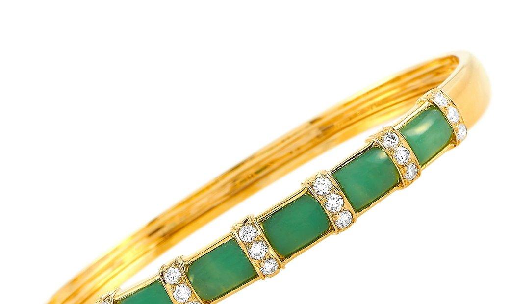Van Cleef & Arpels Van Cleef & Arpels 18K Yellow Gold 0.62 ct Diamond and Chalcedony Bracelet