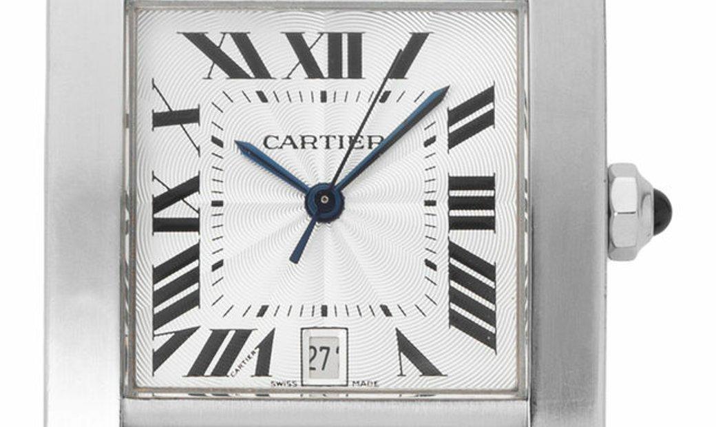 Cartier Tank Francaise W51002Q3 2302, Roman Numerals, 2008, Very Good, Case material St