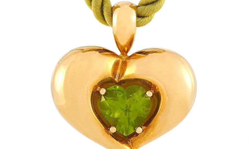 Van Cleef & Arpels Van Cleef & Arpels 18K Yellow Gold Heart-Shaped Peridot Pendant Necklace