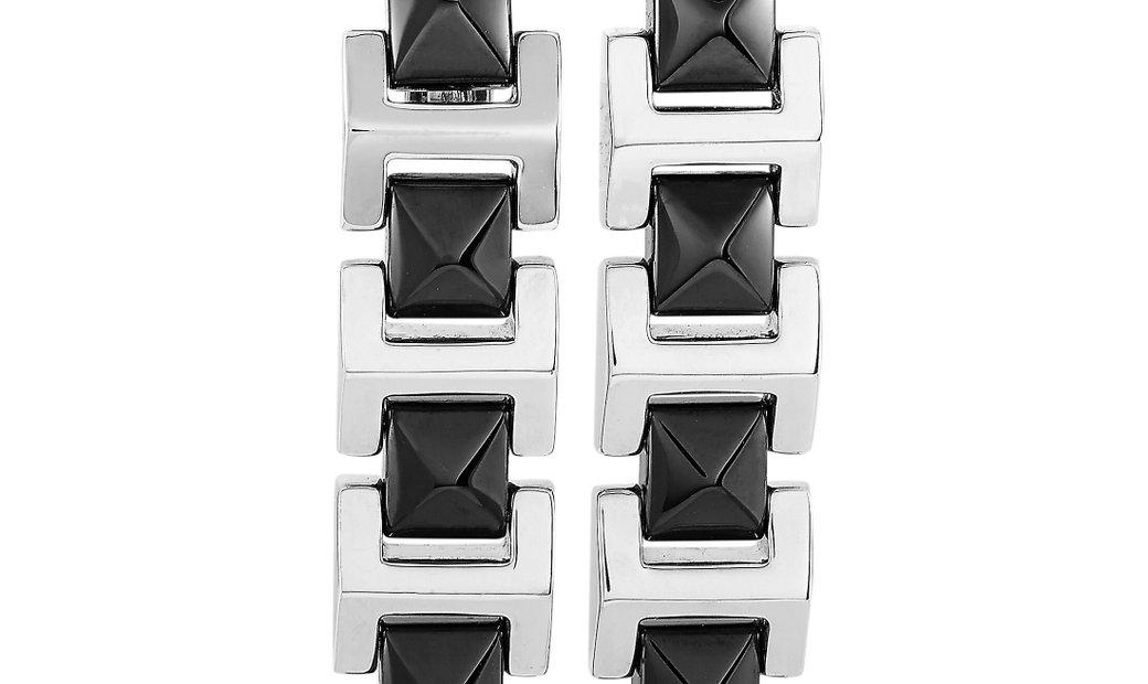 Versace Versace 18K White Gold Ceramic Earrings