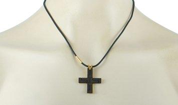 Versace Versace 18K Yellow Gold Black Jet Cross Necklace