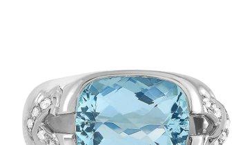 Tiffany & Co. Tiffany & Co. 18K White Gold 0.25 ct Diamond and Aquamarine Ring