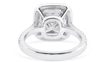 White Diamond Ring, 5.02 Ct. (5.50 Ct. TW), Cushion shape, GIA Certified, 2165762611