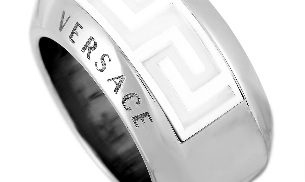 Versace Versace 18K White Gold Ceramic Band Ring
