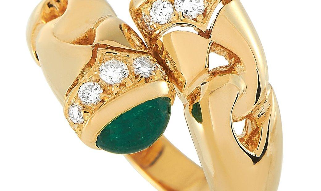 Bvlgari Bvlgari 18K Yellow Gold Diamond, Emerald and Sapphire Bypass Ring