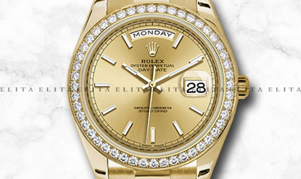 Rolex Day-Date 228348RBR-0008 18Ct Yellow Gold Champagne Dial Diamond Set Bezel