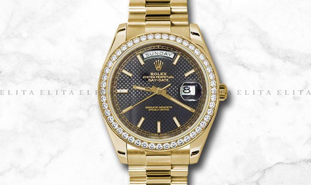 Rolex Day-Date 40 228348TBR-0004 18Ct Yellow Gold Black Diagonal Motif Dial with Diamond Set Bezel