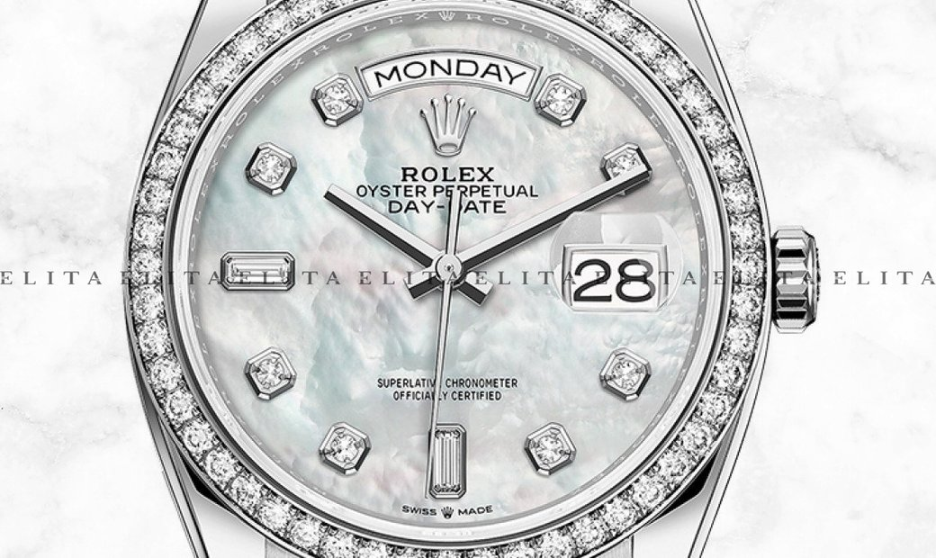Rolex Day-Date 36 128349RBR-0004 White Gold, White Mother of Pearl Diamond Set Dial and Bezel