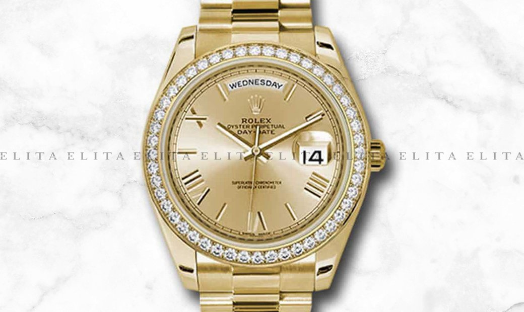 Rolex Day-Date 40 228348RBR-0003 18Ct Yellow Gold Champagne Dial Diamond Set Bezel