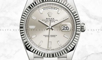 Rolex Day-Date 40 228239-0003 18Ct White Gold with Diamond Set Silver Dial