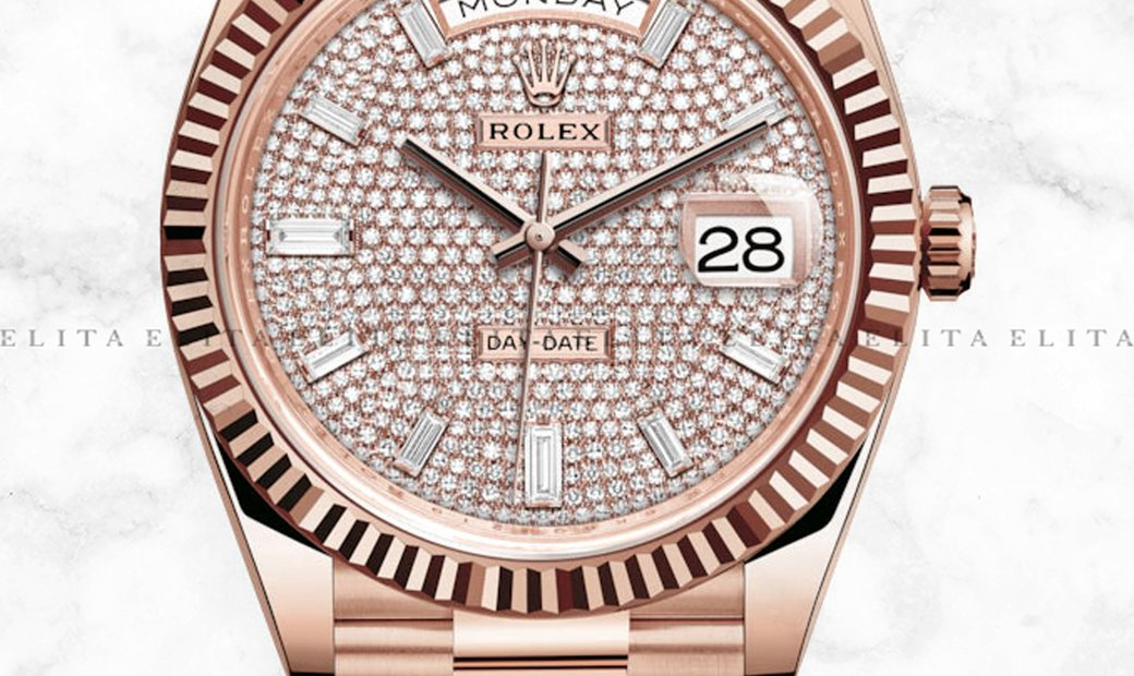 Rolex Day-Date 40 228235-0036 18 ct Everose Gold Diamond Paved Dial