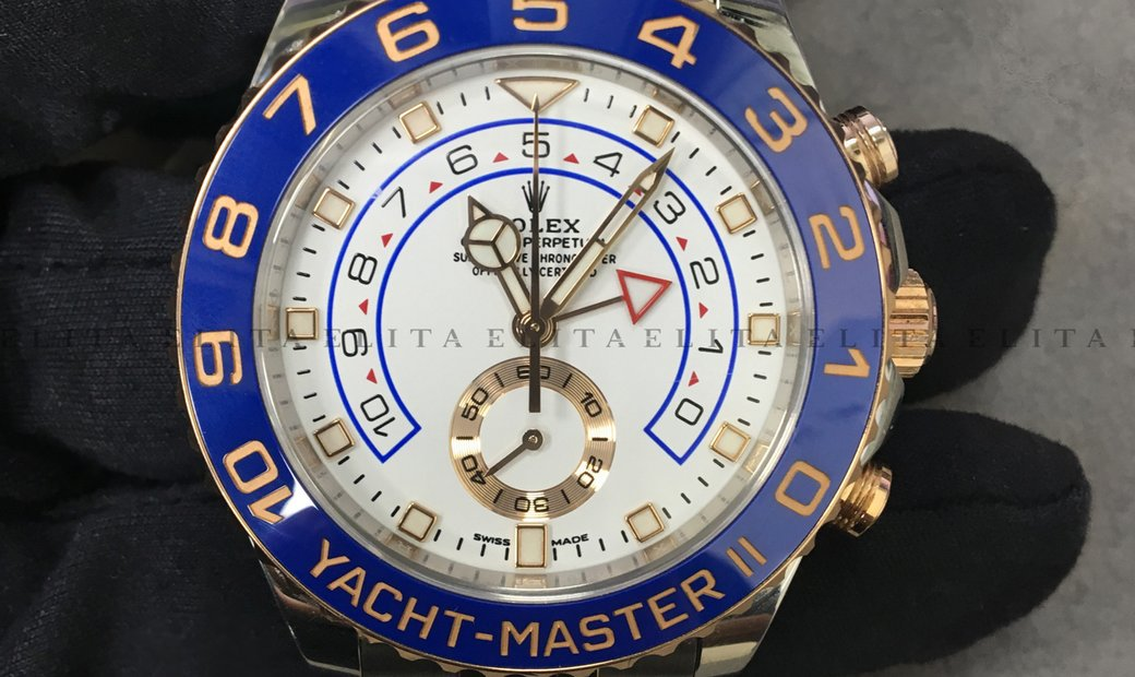 Rolex Yacht Master II 116681-0002 Oystersteel Blue Ceramic Bezel with White Dial