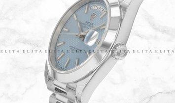 Rolex Day-Date 40 228206-0004 Platinum Ice Blue Diagonal Motif Dial