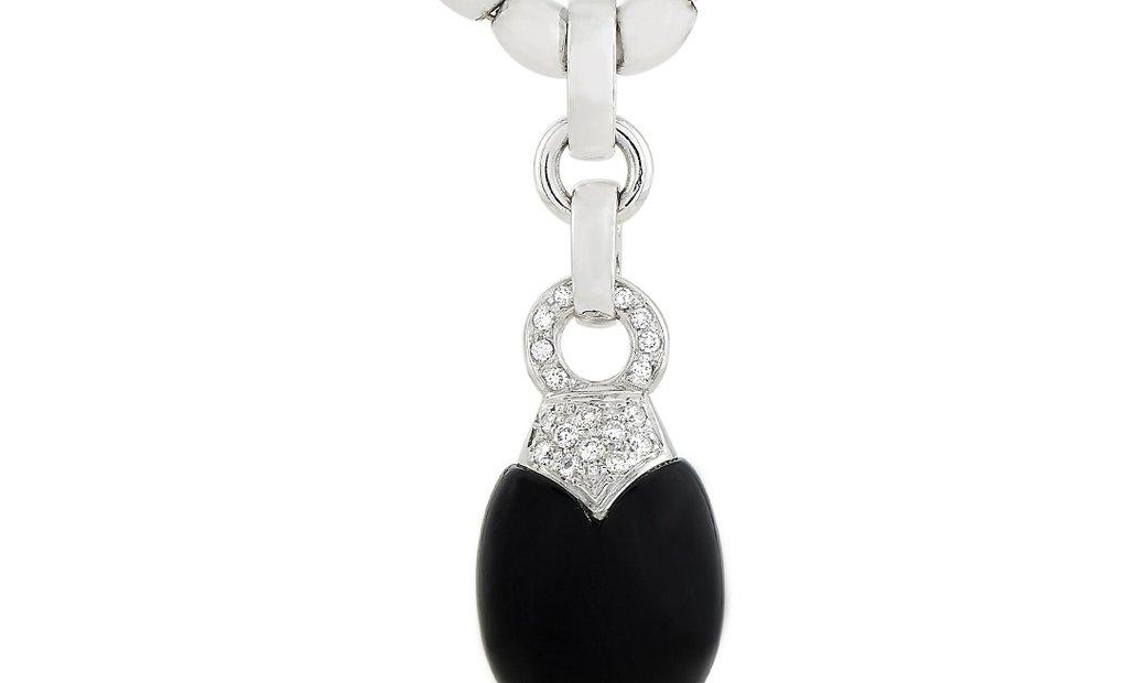 Luca Carati Luca Carati 18K White Gold 0.25 ct Diamond and Onyx Pendant Necklace