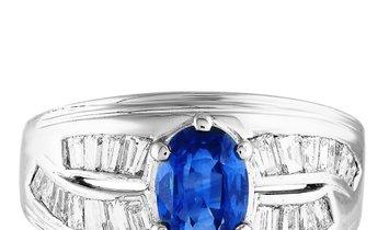 LB Exclusive LB Exclusive Platinum 1.07 ct Diamond and Sapphire Ring