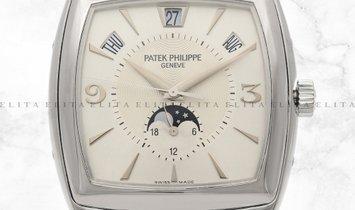 Patek Philippe  Gondolo 5135G-001 Annual Calendar White Gold Silver Dial Black Leather Band