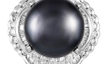 LB Exclusive LB Exclusive Platinum 1.44 ct Diamond and Pearl Ring