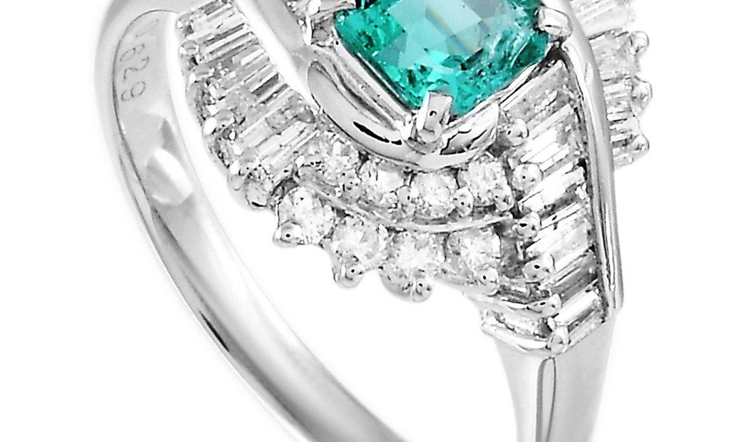 LB Exclusive LB Exclusive Platinum 0.73 ct Diamond and Emerald Ring
