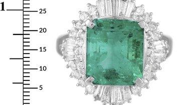 LB Exclusive LB Exclusive Platinum 1.50 ct Diamond and Emerald Ring