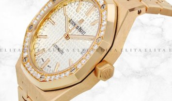 Audemars Piguet Royal Oak Lady 15451OR.ZZ.1256OR.01 Rose Gold Silver Coloured Dial Diamond Bezel
