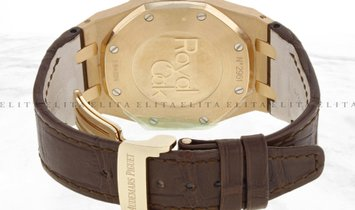 Audemars Piguet Royal Oak 26120OR.OO.D088CR.01 Rose Gold Silver Tapisserie Dial Leather Band