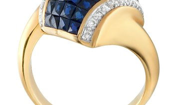 LB Exclusive LB Exclusive 18K Yellow Gold 0.20 ct Diamond and Sapphire Ring