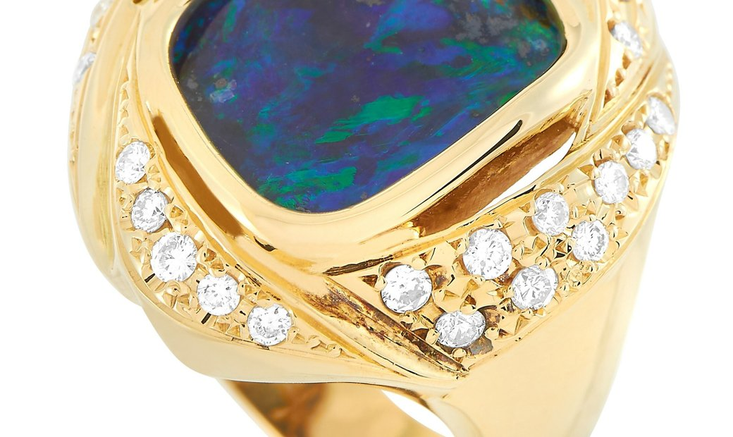 LB Exclusive LB Exclusive 18K Yellow Gold 0.49 ct Diamond and Opal Ring