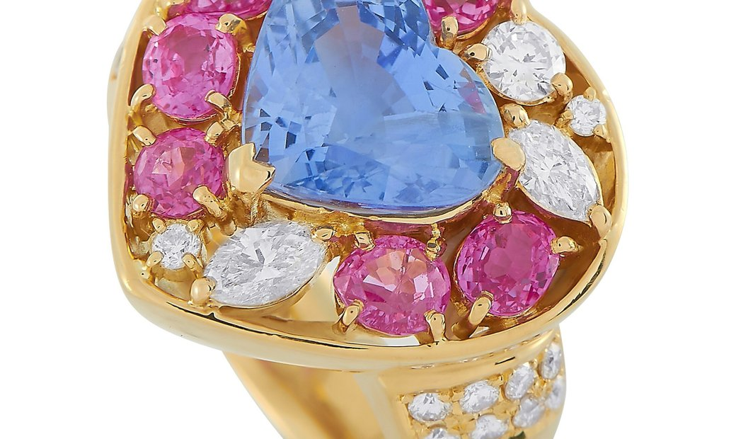 LB Exclusive LB Exclusive 18K Yellow Gold 0.65 ct Diamond and Sapphire Ring