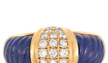 LB Exclusive LB Exclusive 18K Yellow Gold 0.46 ct Diamond and Lapis Lazuli Ring