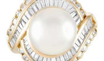 LB Exclusive LB Exclusive 18K Yellow Gold 2.00 ct Diamond and Pearl Ring