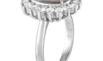 LB Exclusive LB Exclusive Platinum 0.80 ct Diamond and Opal Ring