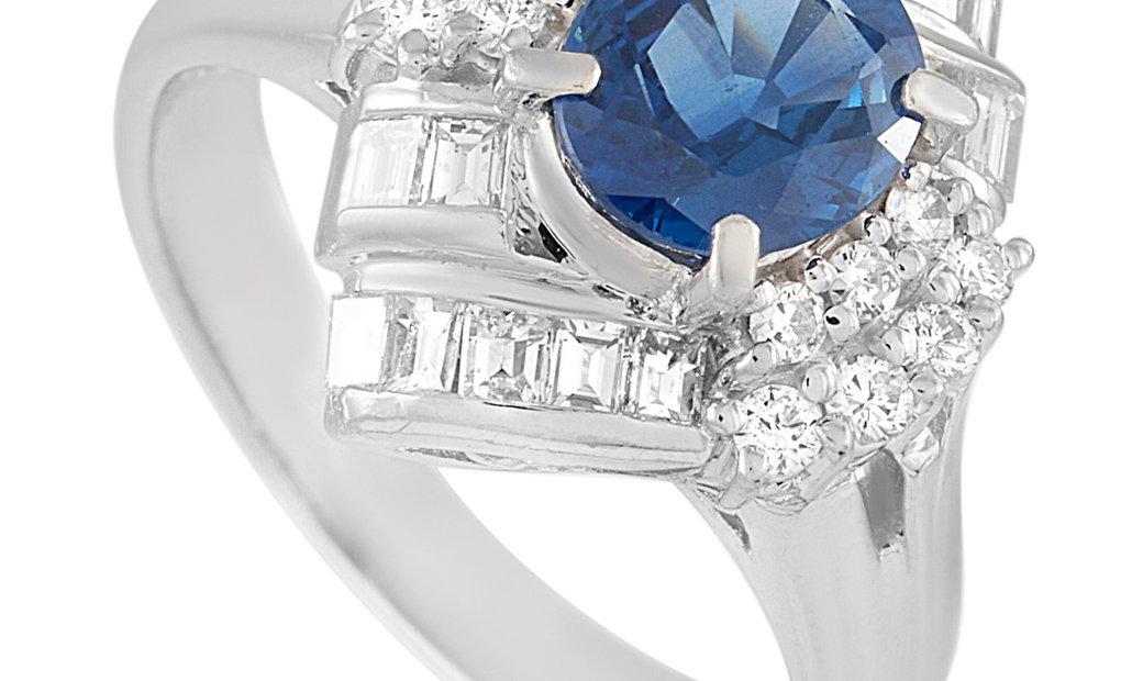 LB Exclusive LB Exclusive Platinum 0.70 ct Diamond and Sapphire Ring
