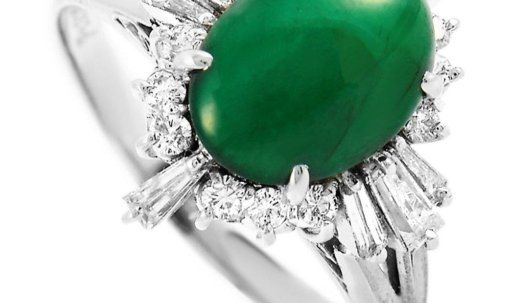 LB Exclusive LB Exclusive Platinum 0.55 ct Diamond and Jade Ring