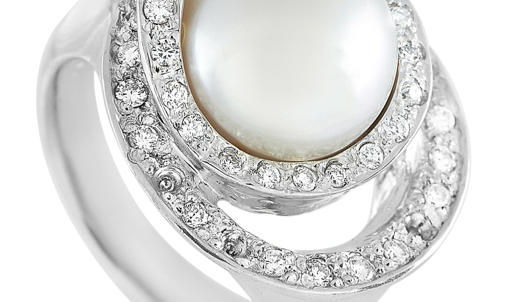 LB Exclusive LB Exclusive Platinum 0.42 ct Diamond and Pearl Ring