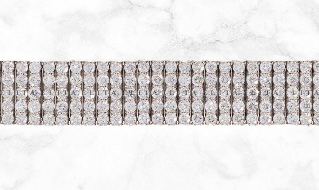 5 Row Tennis Bracelet Diamond Set in White Gold