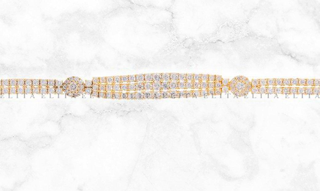 Multi Row Diamond Bracelet in Yellow Gold