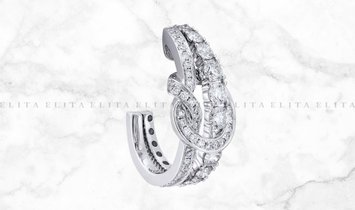 Large Knot Earrings in 18K White Gold and Diamond Set