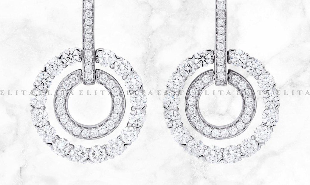18K White Gold Roulette Double Hoop Earrings