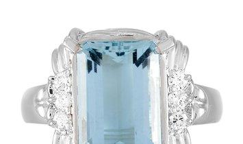 LB Exclusive LB Exclusive Platinum 0.14 ct Diamond and Aquamarine Ring