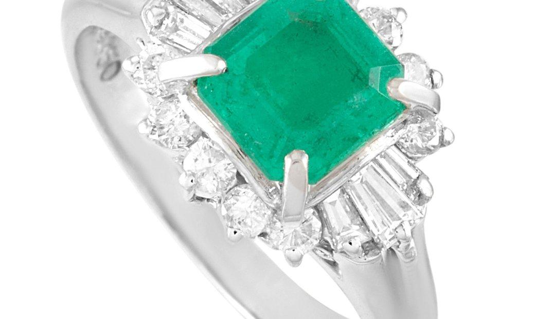 LB Exclusive LB Exclusive Platinum 0.43 ct Diamond and Emerald Ring