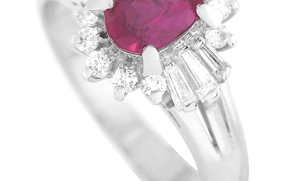 LB Exclusive LB Exclusive Platinum 0.40 ct Diamond and Ruby Ring