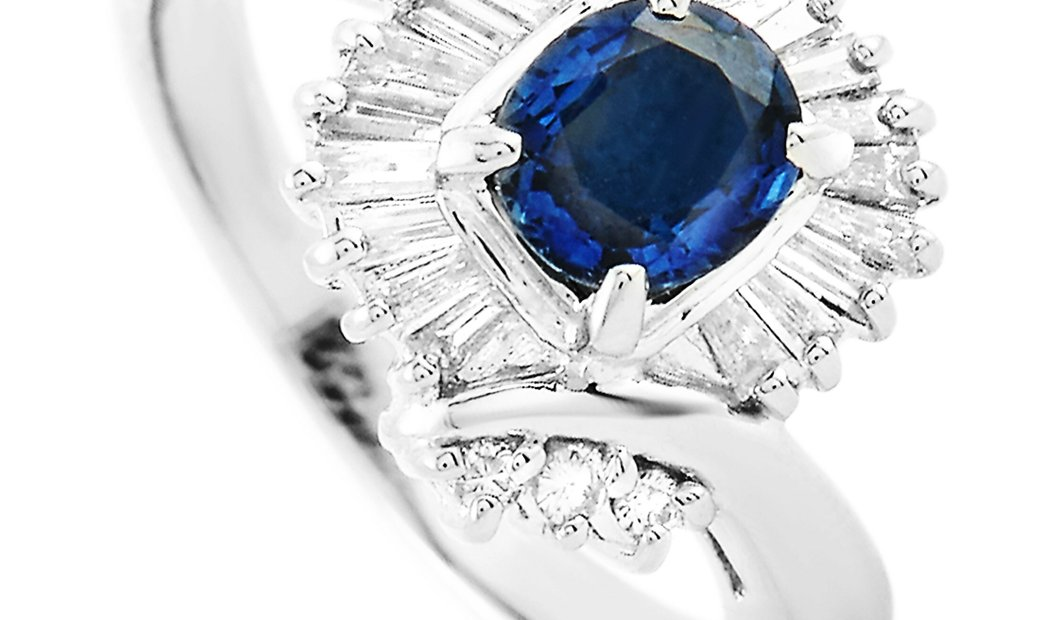 LB Exclusive LB Exclusive Platinum 0.40 ct Diamond and Sapphire Ring