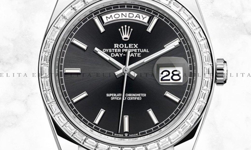 Rolex Day-Date 40 228396TBR-0024 Platinum Black Dial Diamond Set Bezel