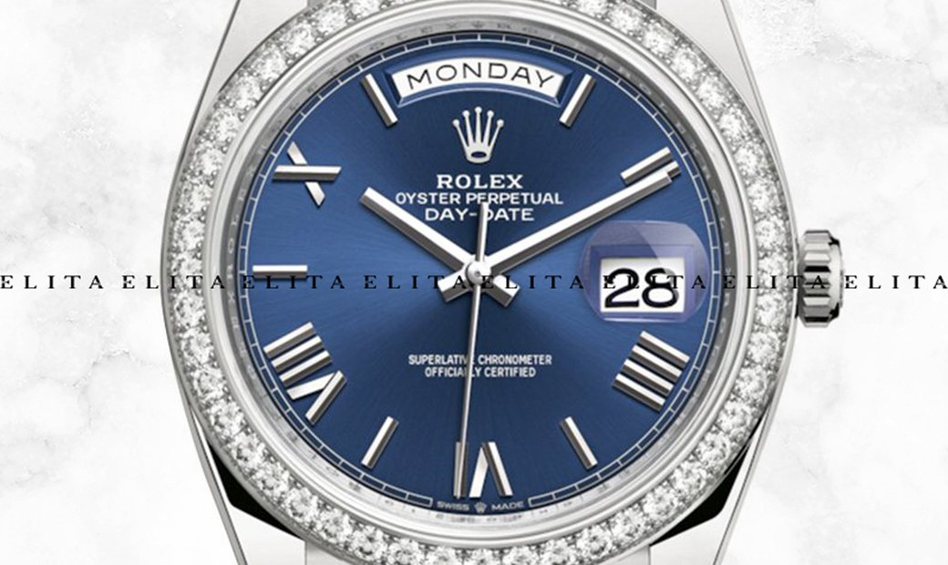 Rolex Day-Date 40 228349RBR-0005 White Gold Blue Dial Diamond Set Bezel